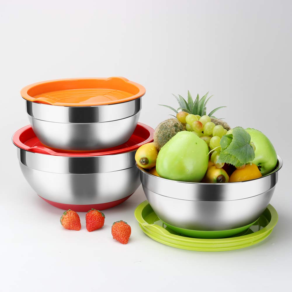 Stainless Steel Mixing Bowls with Lids (Set of 3), Non Slip Colorful Silicone Bottom Nesting Storage Bowls by Regiller, Polished Mirror Finish For Healthy Meal Mixing and Prepping 2.5-3.5-4.2QT by REGILLER (Image #1)