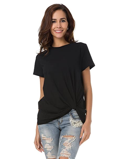55d541b922e MSHING Women's Casual Round Neck Short Sleeve Tie Up T-Shirt Blouse  Comfortable Cotton Basic