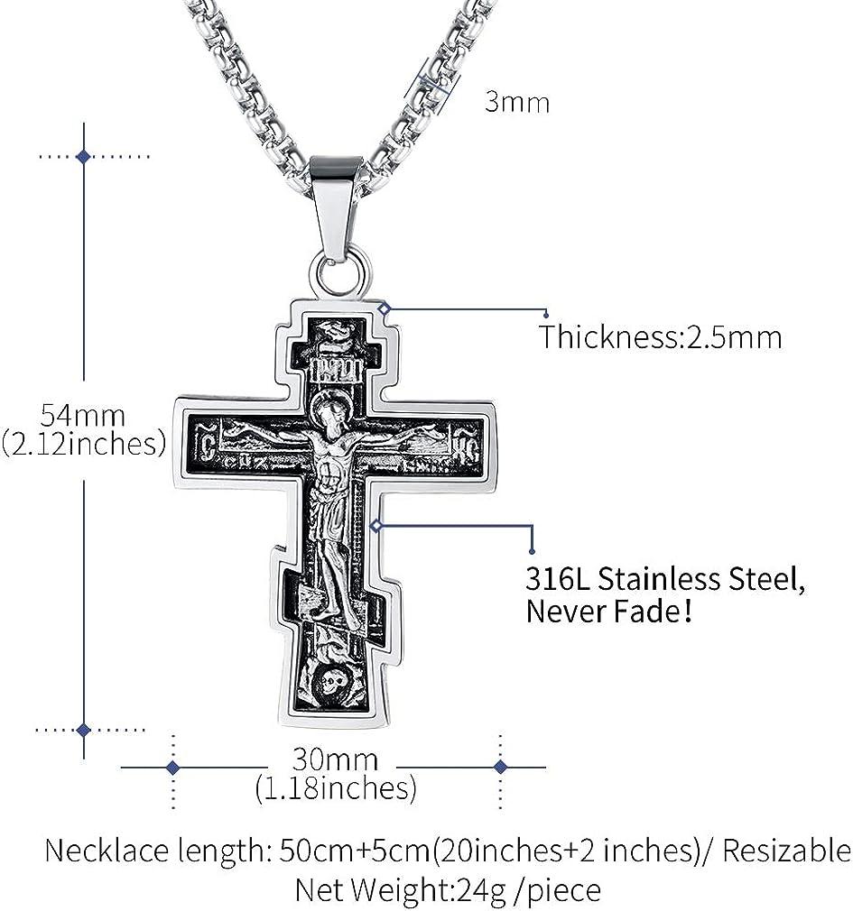 Herren Damen Halskette Schwarz Kreuz Edelstahl Anhänger Kruzifix Jesus UK