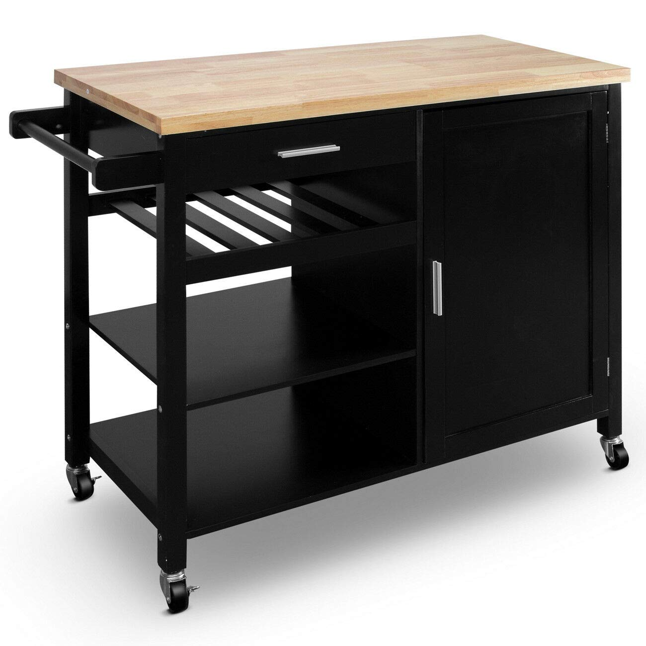 FossExpress Cooking Table w/Wheels, Suitable for use in The Kitchen, w/Storage Drawers - Black