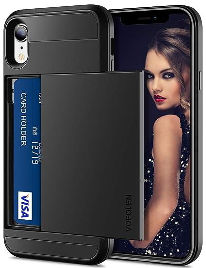 best website 8ec29 1f341 Vofolen Case for iPhone XR Case Wallet Card Holder Sliding Cover Credit  Card Slot ID Pocket Dual Layer Protective Hard Shell Rugged TPU Hybrid  Bumper ...