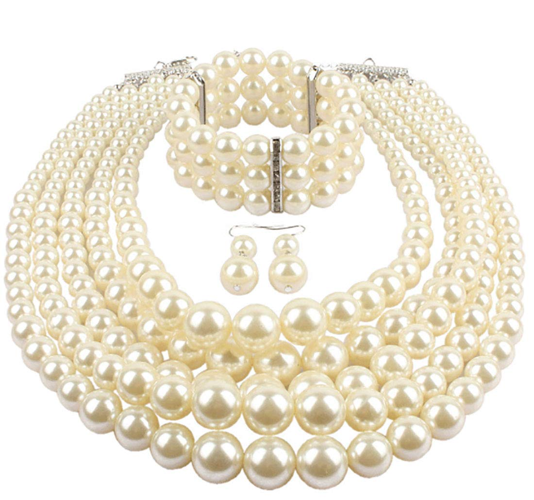 Shineland Elegant Multilayers Simulated Pearl Strand Cluster Collar Bib Choker Costume Jewelry Sets (White) by Shineland