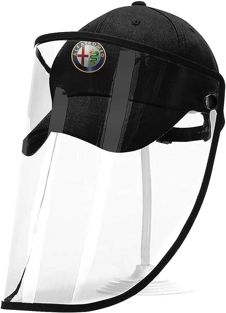 Alfa Romeo Logo Bucket Sun Hat Cap with Transparent Protective Shield for Men and Women, Anti-Fog, Anti-Saliva, Windproof Dustproof Black