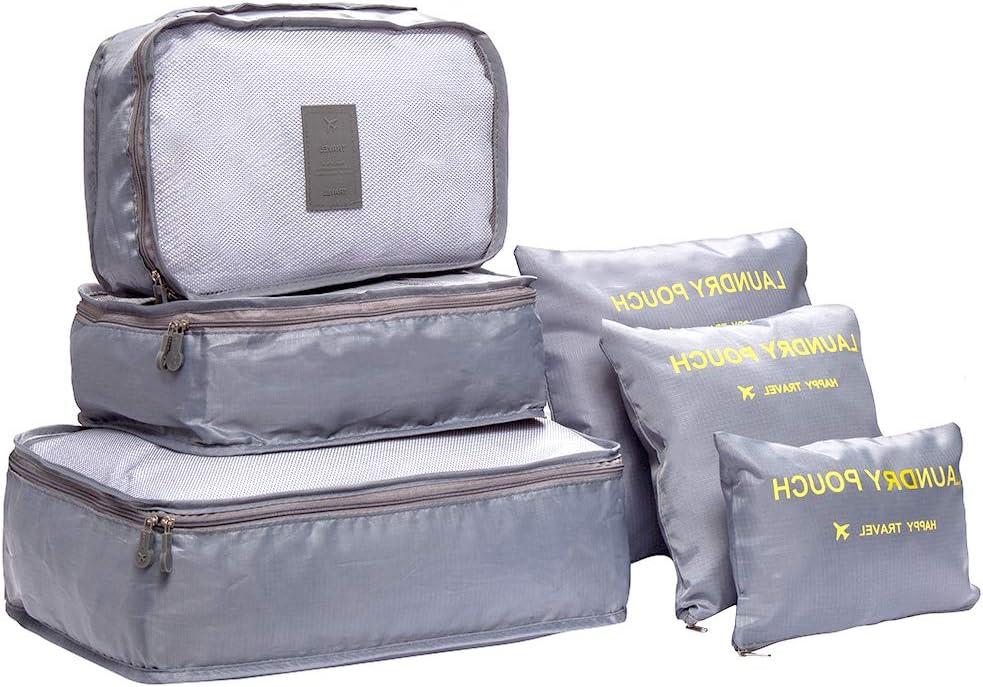 DoGeek Organizador de Equipaje 6 en 1 Set Viaje con Bolsa de Zapato, Impermeable Organizador de Maleta Bolsa para Ropa Sucia de Viaje, Material Nylon (Gris)