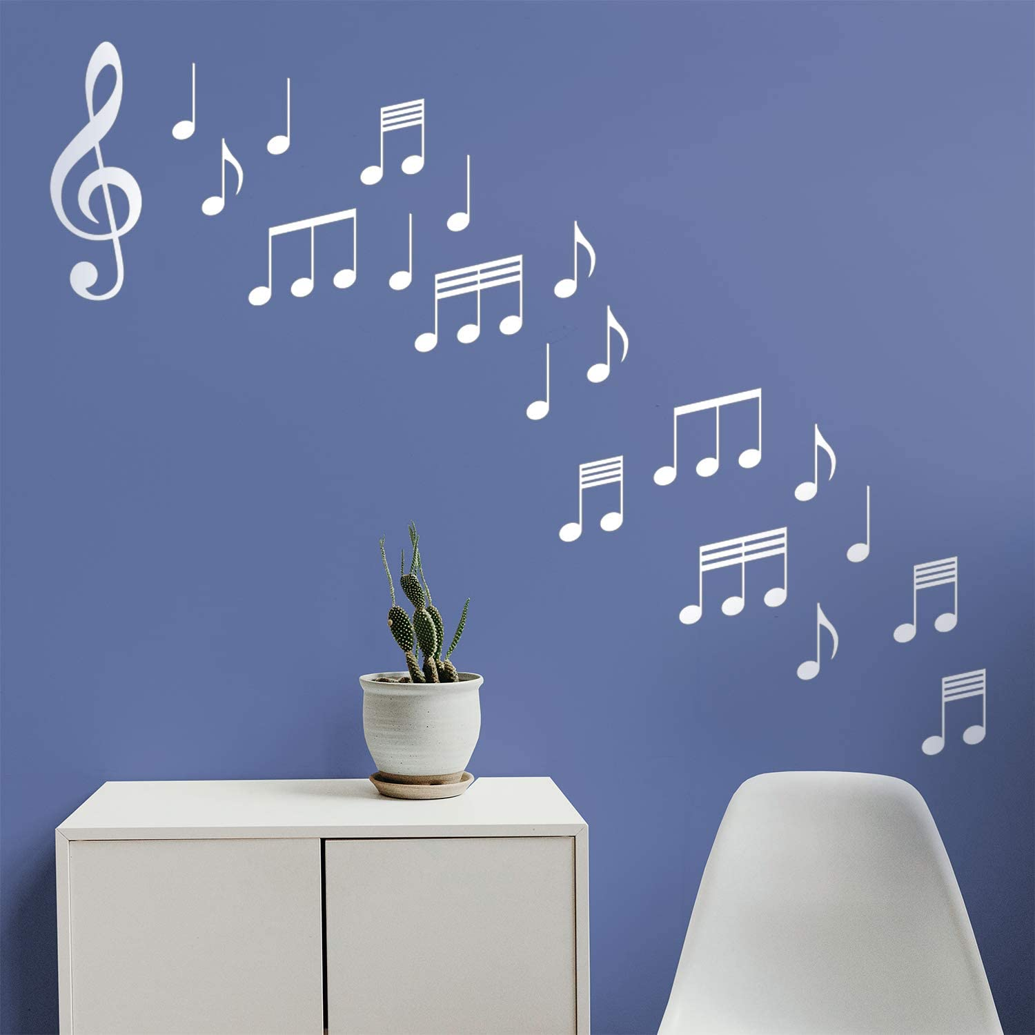 """Set of 20 Vinyl Wall Art Decals - Music Notes - from 6"""" to 8"""" Each - Modern Trendy Musical Notations Home Bedroom Classroom Studio Apartment Living Room Work Office Decor (6"""" x 8"""", White)"""