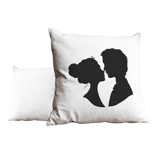 Señor & la Señora de silueta de boda blanco y negro cojín ...