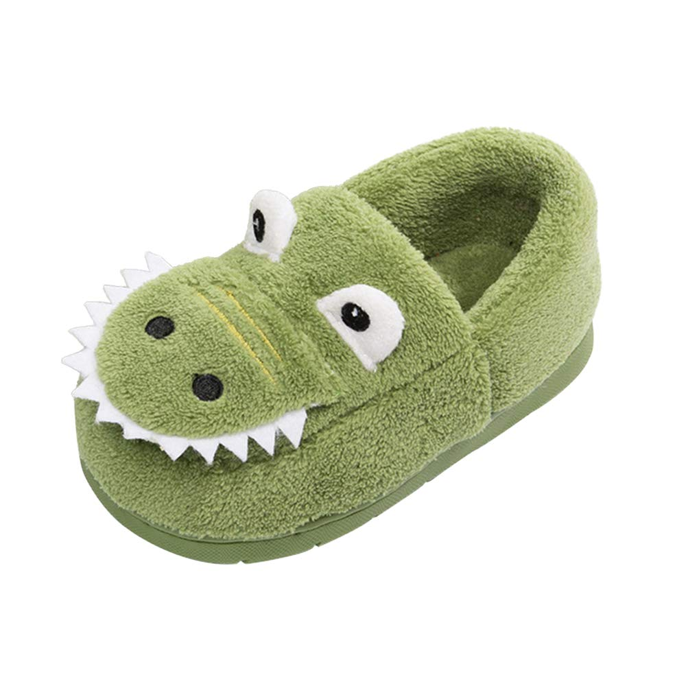 Toddler Boys Girls Dinosaur Slippers Warm Fur Cute Dinosaur House Shoes Indoor Bedroom Green 5-5.5 Toddler by GaraTia