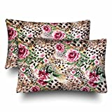 InterestPrint Wild Animal Leopard Print Safari Floral Rose Flower Pillow Cases Pillowcase Standard Size 20x30 Set of 2, Rectangle Pillow Covers Protector for Home Couch Sofa Bedding Decorative