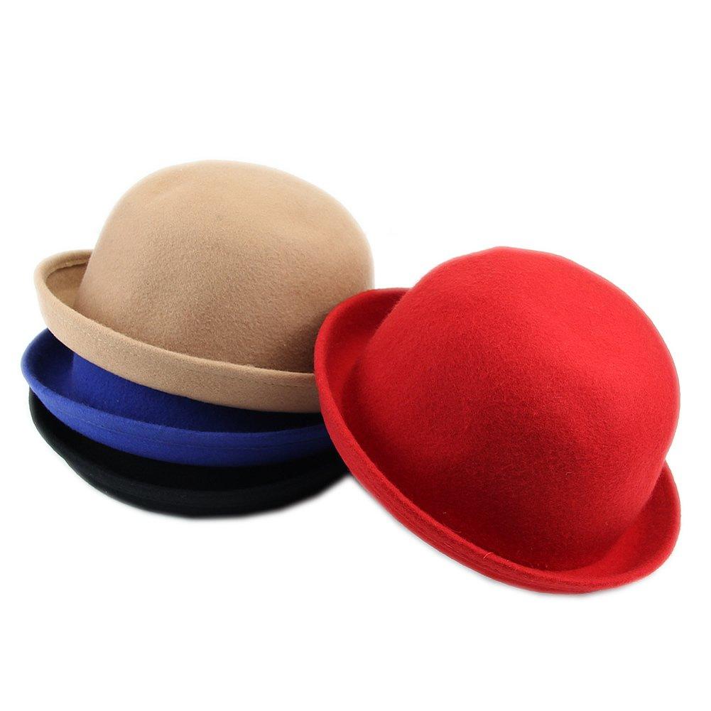 Manyo Vintage Vogue Damen Damen Herren Unisex Vintage Wolle Bowler Derby Hut M/ütze