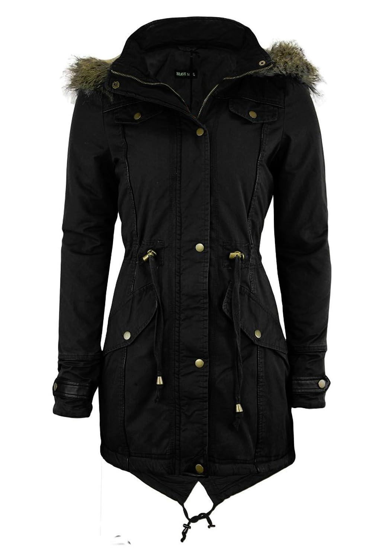 FAB Stil Damen Fell Hooded Fishtail Parka Padded Winter Jacket Damen Military Coat 8–24