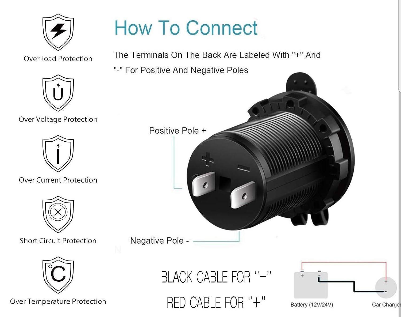 Prise allume-cigare double port USB pour moto//bateau//voiture 12/V//24/V