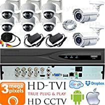 USG Business Grade 3MP HD-TVI 8 Camera CCTV Kit : 6x 2.8-12mm Dome + 2x 5-50mm Bullet Cameras + 1x 8 Channel 3MP DVR + 1x 4TB HDD + 8x 100ft CCTV Cable + 2x 4 Channel Power Supply : Android Apple App