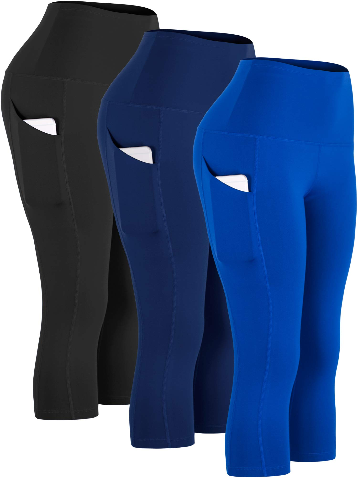 Cadmus Womens High Waist Workout Legging Capris for Yoga w Side Pockets,1109,Black & Navy Blue & Blue,Small by Cadmus