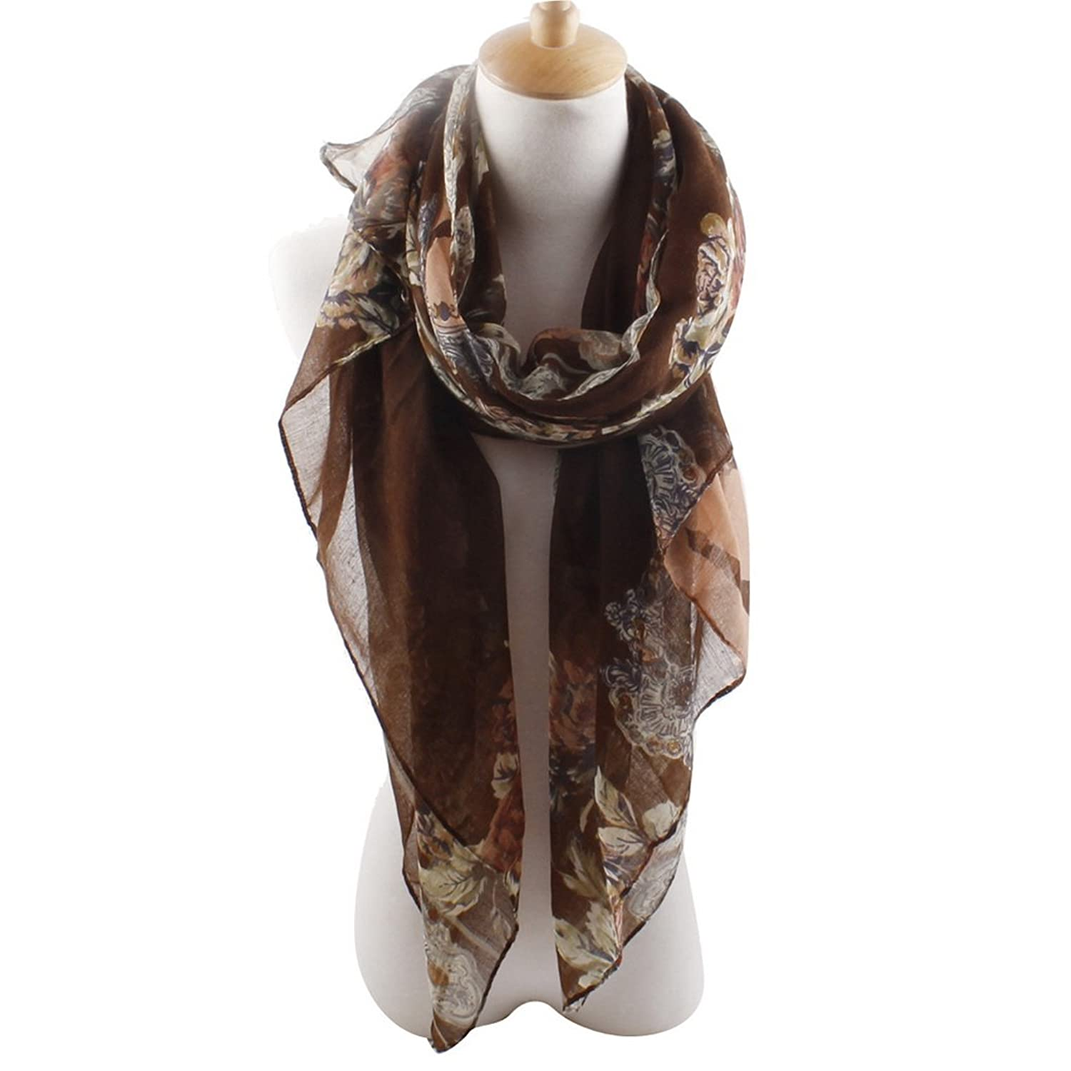 Tangda Women Girls Long Soft Silk Chiffon Flowers Scarf Wrap Shawl