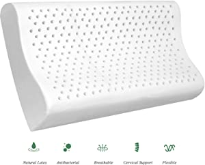 YWSHUF Natural Latex Pillow for Sleeping with Washable Pillow Case,Cervical Pillow for Neck Pain,Organic Hypoallergenic Orthopedic Contour Pillow Support for Side,Back,Stomach Sleepers - Standard Size