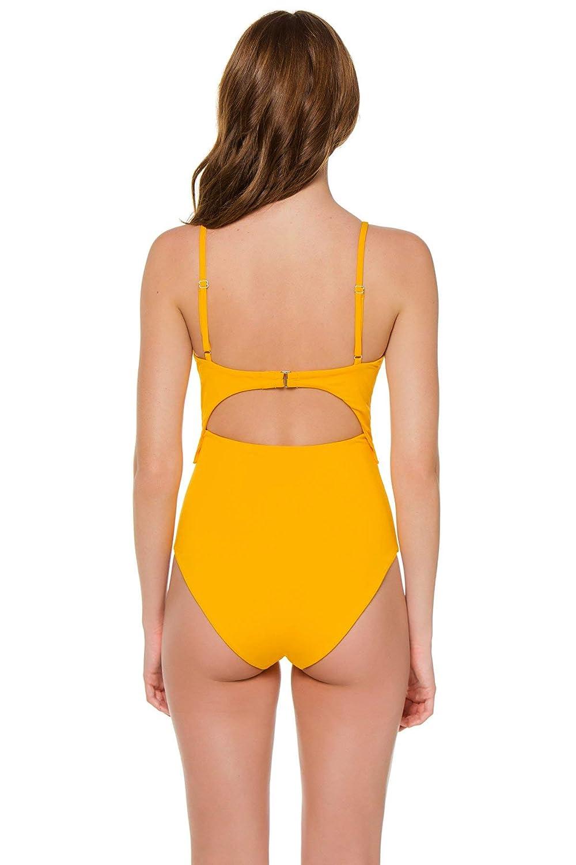 Mara Hoffman Womens Yellow Sprint Kia Cutout One Piece Swimsuit Swimsuit