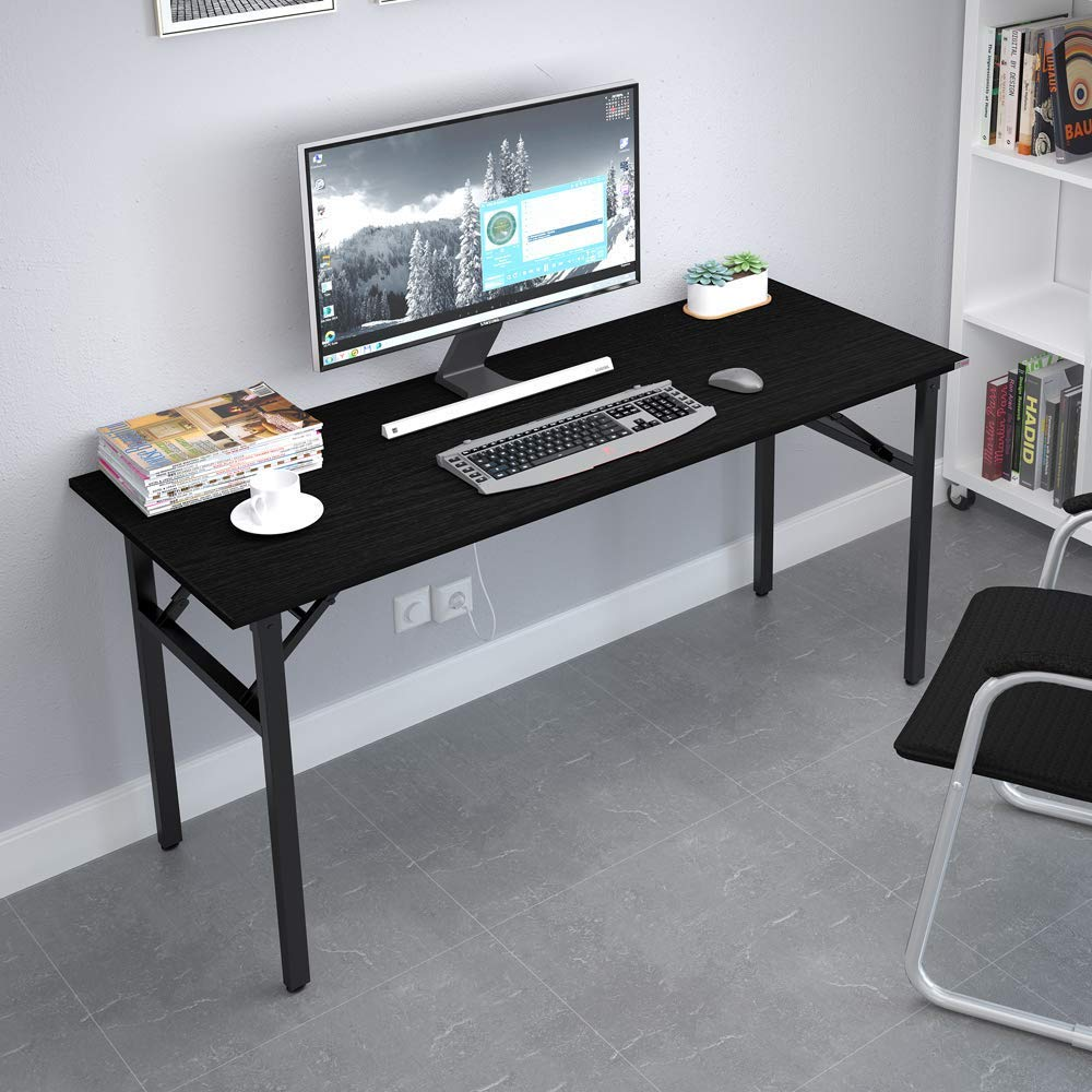 Need Home Office Desk – 62 Inches Large Computer Desk Sturdy Black Table Foldable Desk Gaming Computer Table No Assembly Required AC5CB 62