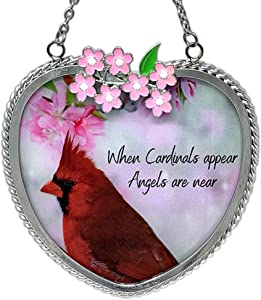 BANBERRY DESIGNS Memorial Cardinal Suncatcher - When Cardinals Appear Angels are Near Saying - Heart Shaped Glass Sun Catcher with Cardinal and Spring Scene
