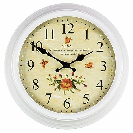 Amazon.com: Metal wall clock American style [retro] Living room ...