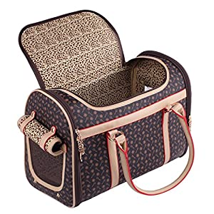 BELLAMORE GIFT Pet Carrier Airline Approved Travel Dog Bag Pomeranian Pug Chihuahua Puppy Cat Yorkie 42 x 23 x 30 cm (Brown)