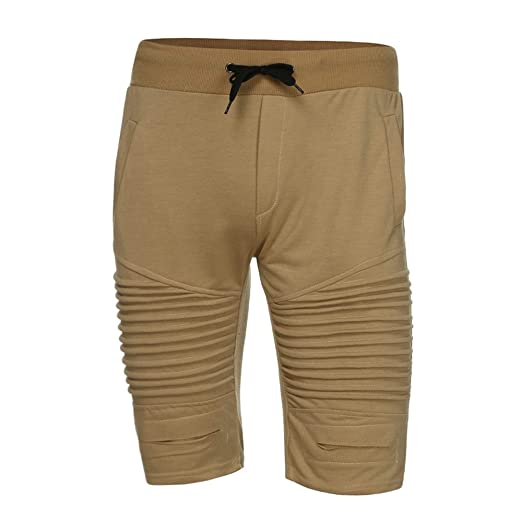 1fc456bc93a077 Image Unavailable. Image not available for. Color  iZHH Men Trousers  Sweatpants Slacks Elastic Waist Sportwear Baggy Pants Shorts(Khaki ...