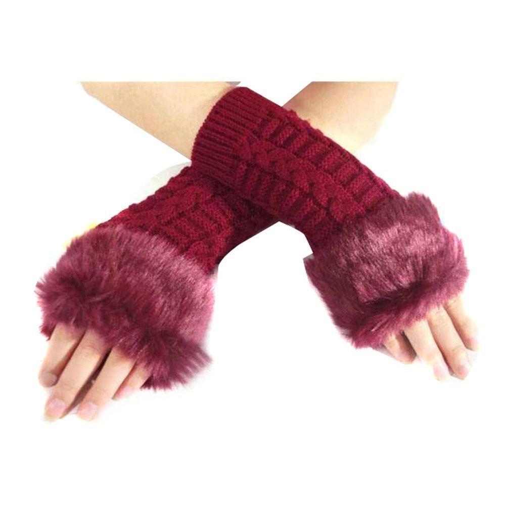 Happy Will Elegant Winter Stretch Faux Rabbit Fur Long Fingerless Gloves Arm Warmers Arm Sleeve for Women Girls with Stylus (Black)