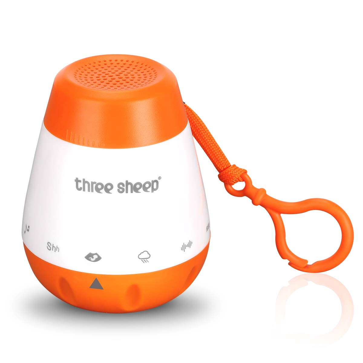 Baby Soother Sound Machine, Portable White Noise Machine with 6 Relaxing and Soothing Sound, 30 Minutes Auto-Off and Sound Sensor Function, Easily Attach to Strollers, Cribs & Car Seats, Rechargeable Threesheep