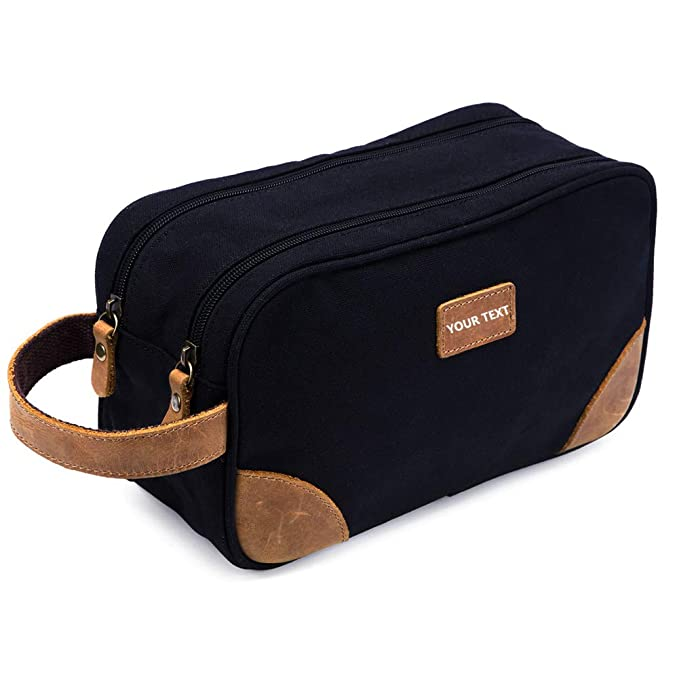 0235c5ad8871 Kemy's Mens Canvas Toiletry Bag Travel Bathroom Shaving Dopp Kit with  Double Compartments, Unisex