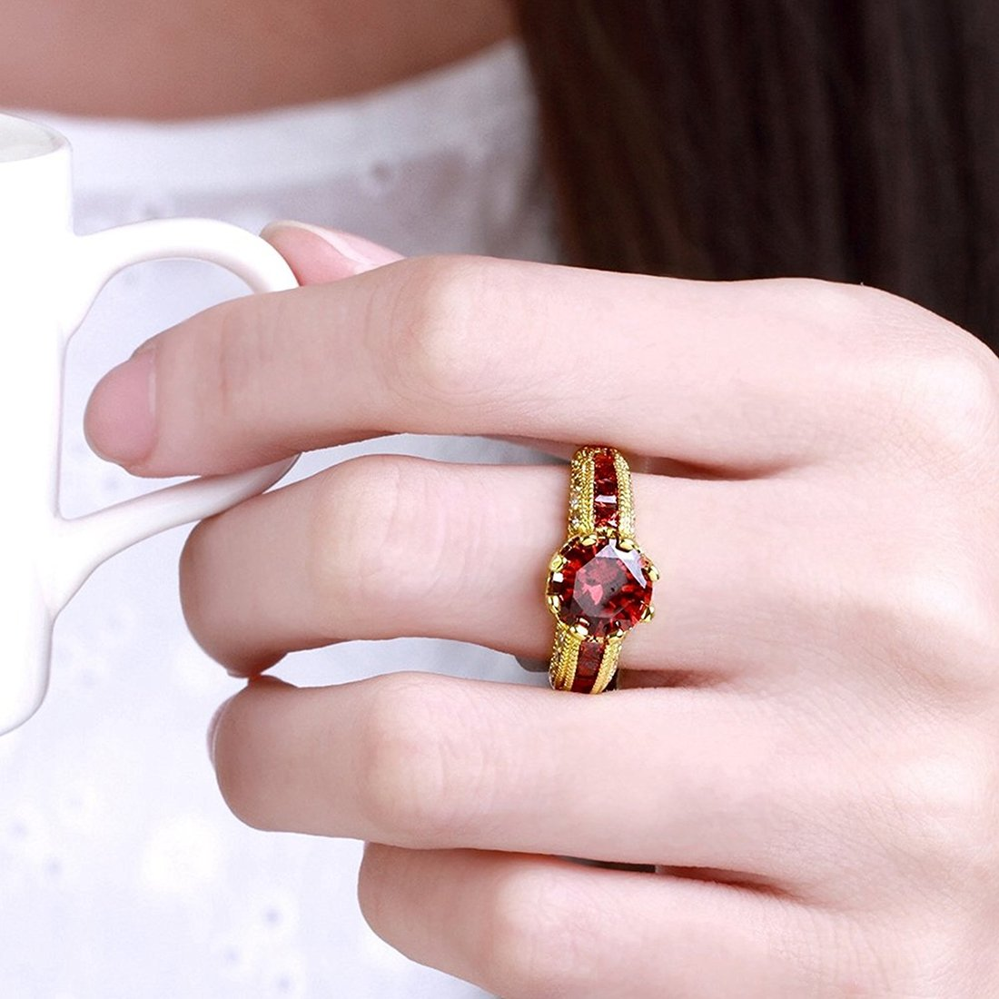 Buy Peora Dazzling Imperial Red Austrian Crystal 18K Real Gold ...