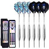 Ohuhu 6 Pack 24 Grams Professional Steel Tip Darts with Additional Shafts and Storage Case Black/Silver