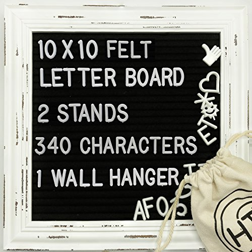 HTG Home Black Felt White Wooden Frame Letter Board Set 10x10 Wall Mount and Two Display Stands 340 Changeable Characters Numbers Symbols Emojis Message Word Sign Announcement Office Quote Letterboard by HTG Home