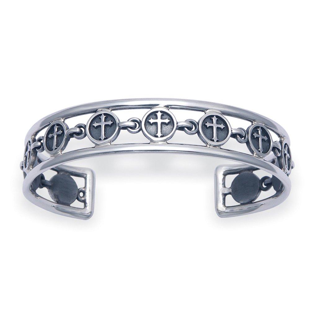 Men's Openwork Sterling Silver Florentine Cross Cuff Bracelet