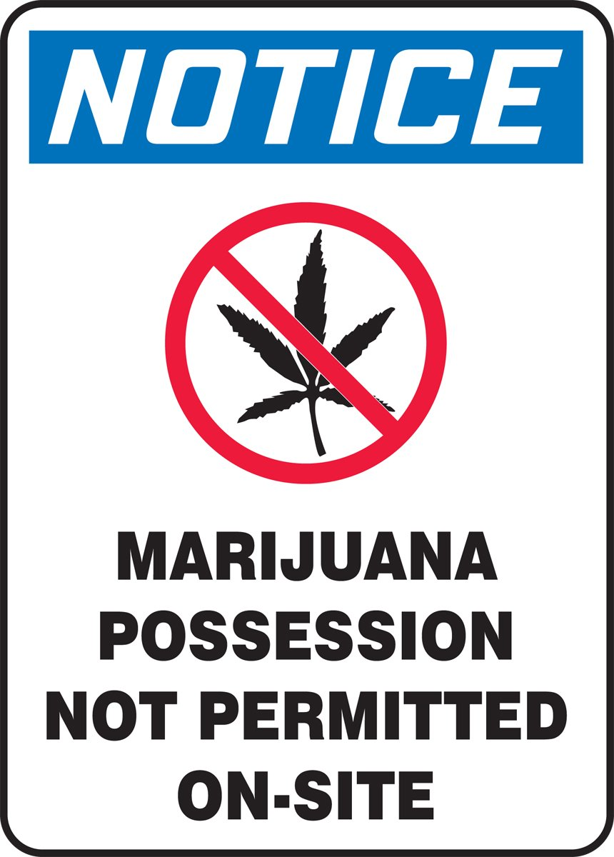 14 Length x 10 Width x 0.004 Thickness Blue//Red//Black on White LegendNOTICE MARIJUANA POSSESSION NOT PERMITTED ON-SITE Accuform MACC506VS Adhesive Vinyl Sign LegendNOTICE MARIJUANA POSSESSION NOT PERMITTED ON-SITE