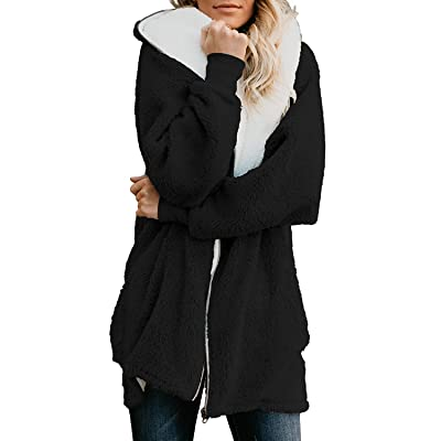 Yanekop Women Oversized Sherpa Hoodie Fuzzy Fleece Jacket Zip Up Outerwear Coat with Pockets at Women's Coats Shop