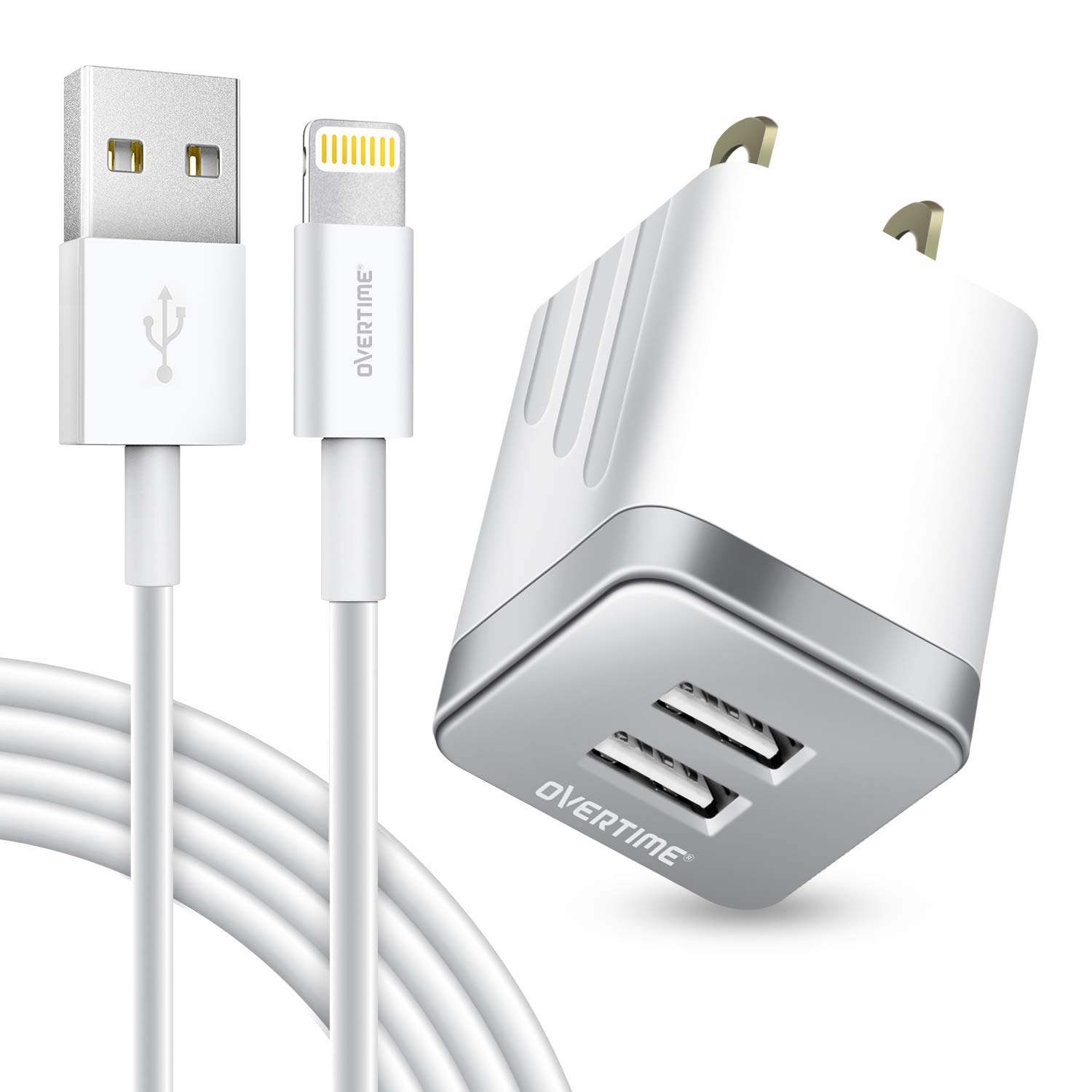 iPhone Charger and 6ft Cable, Overtime Apple MFi Certified Lightning Cable with Dual USB Wall Charger 2.4Amp Adapter for iPhone 11 Pro Max XS XR X 8 7 6S 6 Plus SE 5S 5C 5 AirPods iPad - Silver