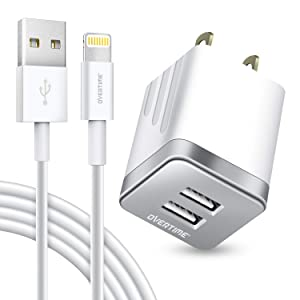iPhone Charger Set, Overtime Apple MFi Certified Lightning Cable with Dual USB Wall Adapter 2.4 AMP Compatible w/iPhone 11 Pro Max XS XR X 8 7 6S 6 Plus SE AirPods iPad (Silver/White, 4ft)