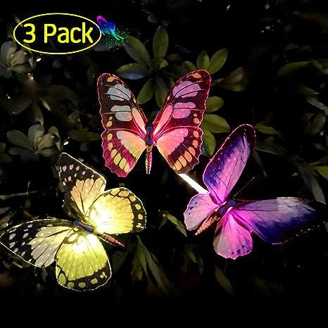 Solar Lichterkette Schmetterling bunt farbig mit 24 LED Außenbeleuchtung Garten