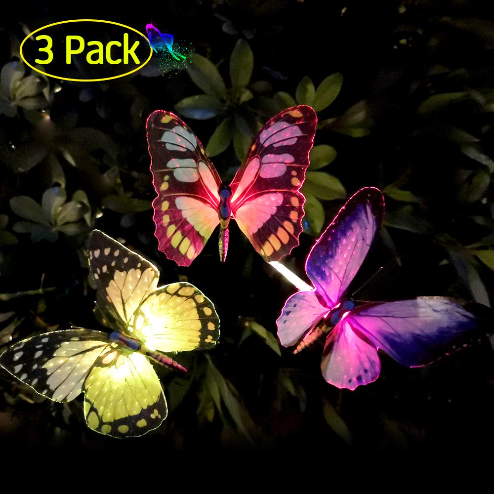 Qualife Solar Butterfly Stake Lights Outdoor, 2019 Solar Powered Decorative Light for Garden Decorations Yard Art Housewarming Gifts,LED Color Changing Light, 3 Pack.