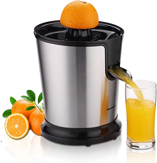 Homeleader Citrus Juicer, Stainless Steel Juice Squeezer, Electric Orange Juicer with Two Cones, Powerful Motor for Grapefruits, Orange and Lemon,