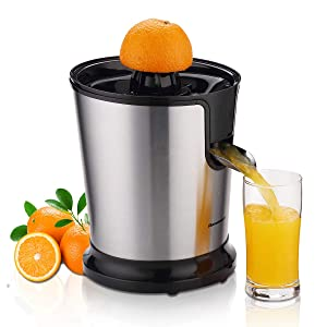 Homeleader Electric Citrus Juicer, Stainless Steel Orange Juicer, Fruit Squeezer with Two Cones, Powerful Motor for Grapefruits, Orange and Lemon, Black