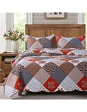 HoneiLife Quilt Set Queen Size - 3 Piece Microfiber Bedspread Reversible Coverlet Patchwork Bedding Set Lightweight Bedcover Floral Bedspreads All Season Quilts-Amaranth Red