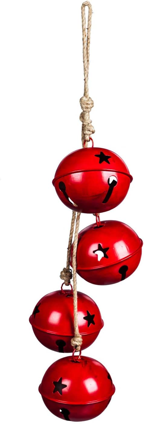 Evergreen Garden Beautiful Decorative Oversized Red Believe Jingle Bell Wind Chime - 6 x 6 x 33 Inches Fade and Weather Resistant Indoor/Outdoor Decoration for Homes, Yards and Gardens