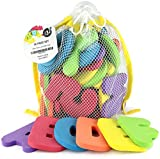 Click N Play Bath Foam Letters & Numbers with Mesh Bath Toys Organizer, 36 Count