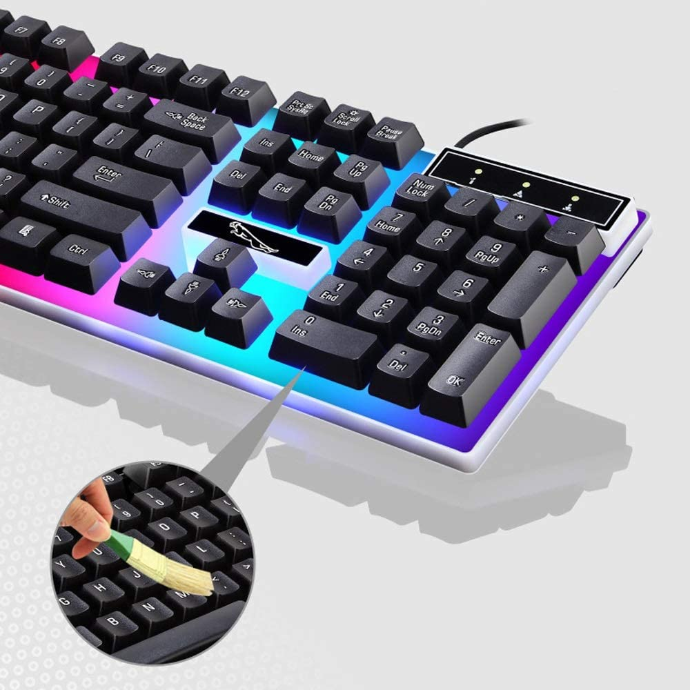 for Computer Black Gaming Keyboard and Mouse Combo Laptop Notebook USB Wired Mouse Keyboard Set Desktop PC Rainbow LED Backlit Gaming Keyboard