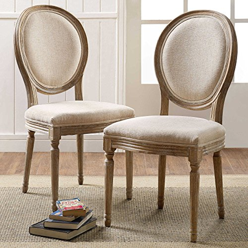 Shiraz Linen Oval Back Chairs in Natural (Set of (Oval Set Folding Chair)