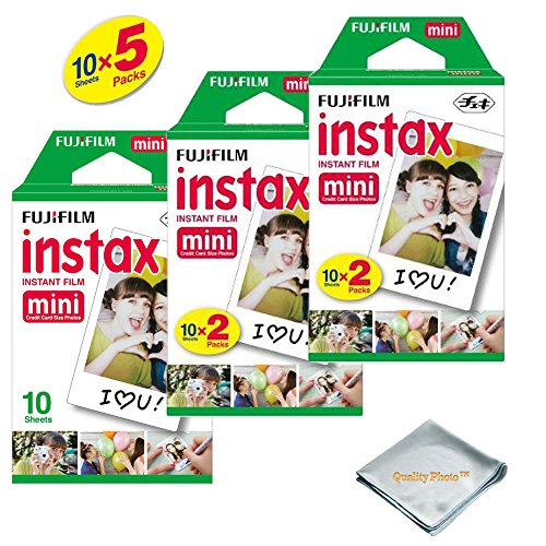 Fujifilm INSTAX Mini Instant Film (White) for Fujifilm Mini 8 & Mini 9 Cameras w/Microfiber Cloth by Quality Photo...