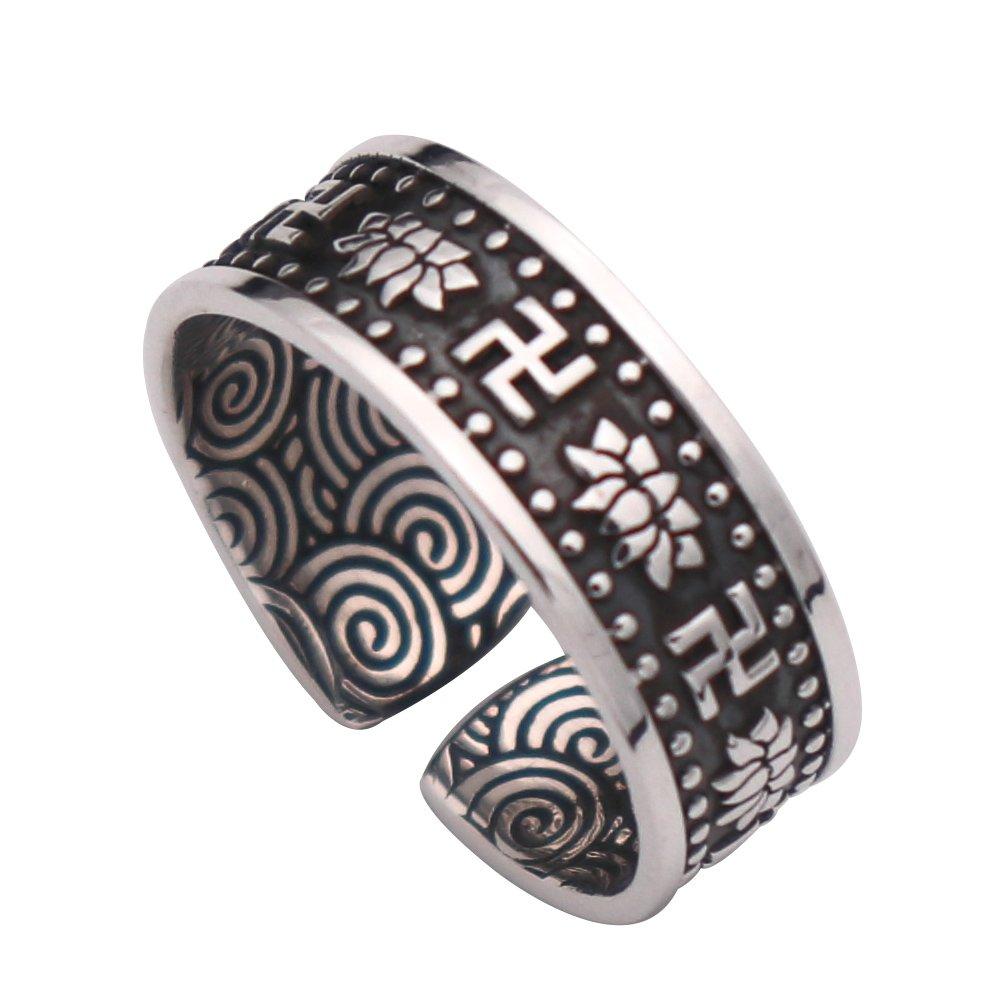 Anello fiore di loto buddismo argento sterling 999 nero regolabile per uomo donna FORFOX F00242