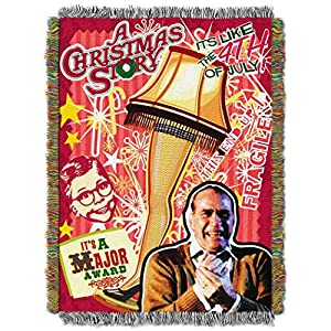 "Warner Brothers A Christmas Story, ""Retro Lamp"" Woven Tapestry Throw Blanket, 48"" x 60"", Multi Color 