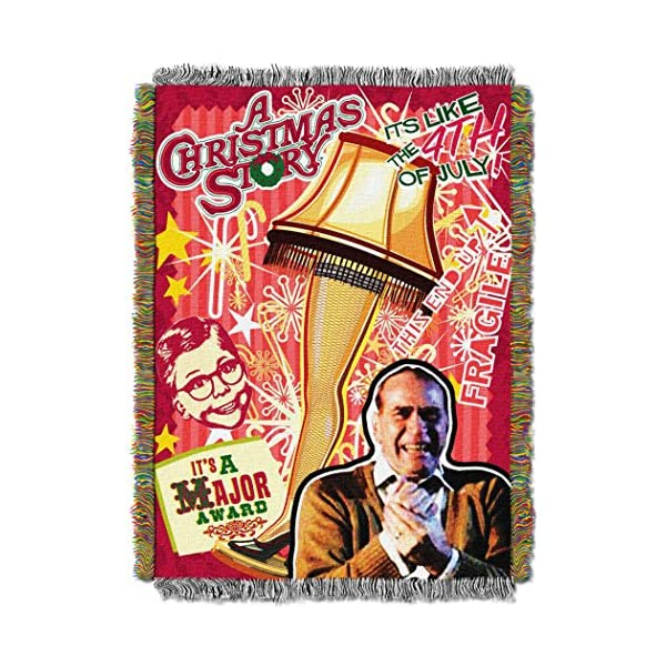 """Warner Brothers A Christmas Story, """"Retro Lamp"""" Woven Tapestry Throw Blanket, 48"""" x 60"""", Multi Color 