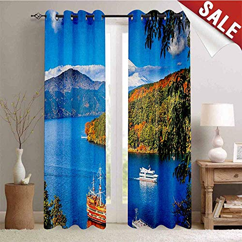 (Pirate Ship, Blackout Draperies for Bedroom, Lake Ashi Mount Fuji Japan Town Hakone Travel Touristic Destination, Thermal Insulating Blackout Curtain, W84 x L84 Inch Green Blue Orange)